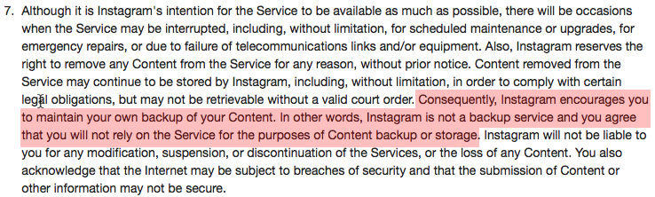 instagram terms of service: backup